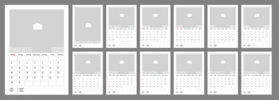 Naklejka Wall Monthly Photo Calendar 2022. Simple monthly vertical photo calendar Layout for 2022 year in English. Cover Calendar, 12 monthes templates. Week starts from Sunday. Vector illustration