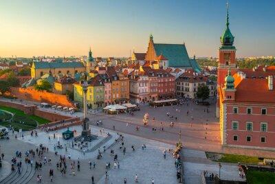 Naklejka Warsaw Poland Old Town Plaza with Castle