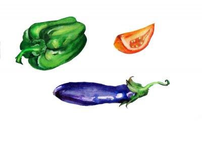 Naklejka Warzywa akwarela