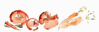 Naklejka Warzywa akwarela. Pomidory, marchew i papryka
