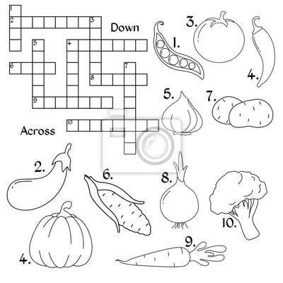 Warzywa Krzyżówka Edukacja Gry Różne Warzywa W Płaskim Stylu Naklejki Redro