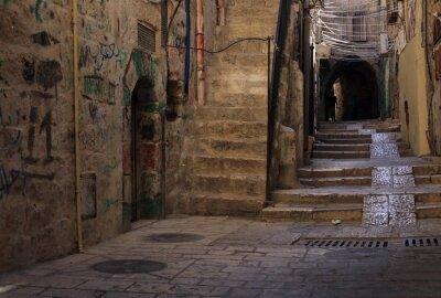 Naklejka Wąska ulica w dzielnicy żydowskiej w Jerozolimie