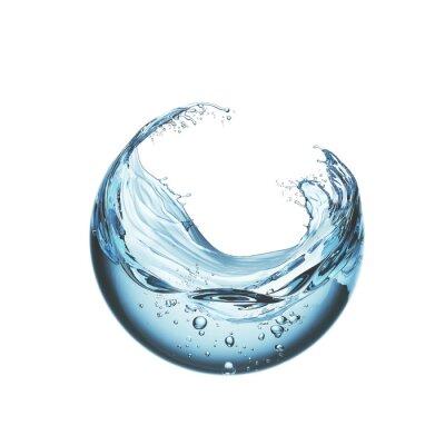 Naklejka water liquid splash in sphere shape isolated on white background, 3d illustration.