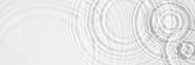 Naklejka Water panoramic banner background. White water texture, aqua surface with rings and ripples