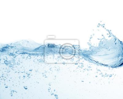 Naklejka water splash isolated on white background, beautiful splashes a clean water