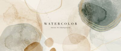 Naklejka Watercolor art background vector. Wallpaper design with paint brush and gold line art. Earth tone blue, pink, ivory, beige watercolor Illustration for prints, wall art, cover and invitation cards.