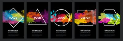 Naklejka Watercolor black background over geometric frame vector design headline, logo and sale banner template set