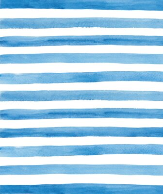 Naklejka Watercolor blue and white stripes background. Hand painted lines