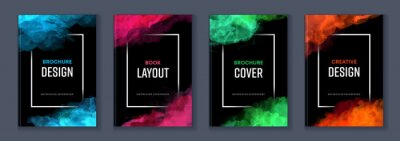 Naklejka Watercolor booklet brochure colourful abstract layout cover design template bundle set with black background and frame