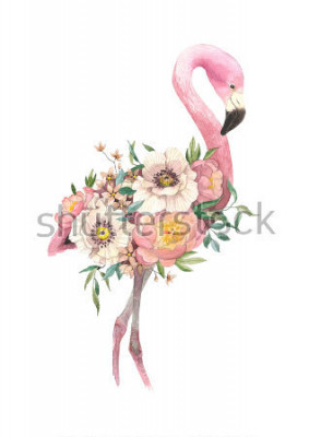 Naklejka Watercolor bouquet with tropical bird, eucaliptus, peony and anemone, flamingo. High detailed hand drawing illustration