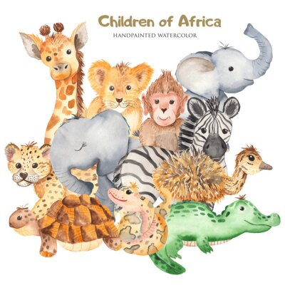 Naklejka Watercolor card with cute characters of African animals. Template for invitation, greeting card, party, baby shower, children's clothing and design.