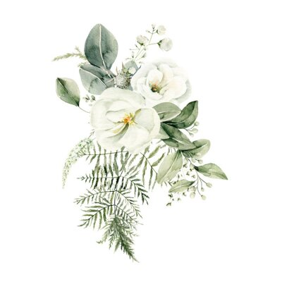 Naklejka Watercolor floral composition. Hand painted white flowers, forest leaves of fern, eucalyptus. Bouquet isolated on white background. Botanical illustration for design, print or background