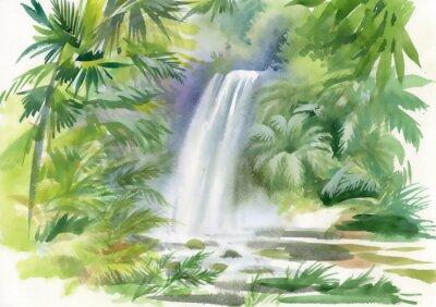 Naklejka Watercolor illustration of waterfall in jungle