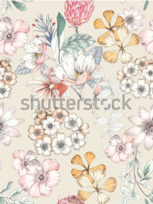 Naklejka Watercolor of flowers, elegant watercolor painting, Yellow continuous pattern cycle
