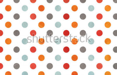 Naklejka Watercolor orange, blue, red and grey polka dot background. Texture with colorful polka dots for scrapbooks, wedding, party or baby shower invitations.