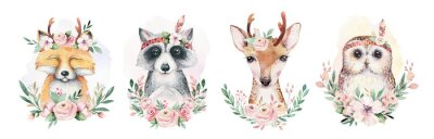 Naklejka Watercolor set of forest cartoon isolated cute baby fox, deer, raccoon and owl animal with flowers. Nursery woodland illustration. Bohemian boho drawing for nursery poster, pattern