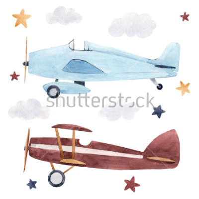 Naklejka Watercolor set of isolated children's illustrations, airplanes, starry sky and clouds. Children's birthday