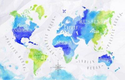 Naklejka Watercolor world map green blue