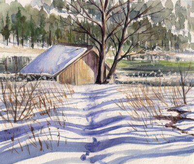 Naklejka Watercolors painted winter landscape with small house close to lake and forest in background.