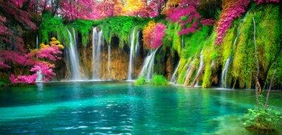 Naklejka Waterfall landscape of Plitvice Lakes Croatia.