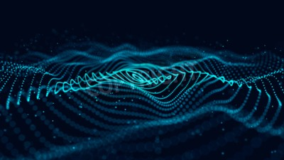 Naklejka Wave of particles. Abstract background with a dynamic wave. 3d rendering.