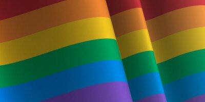 Naklejka Waving flag of Rainbow. LGBT, LGBTQ, LGBTQ+ Template, banner, background. Month pride. Symbol, illustration.