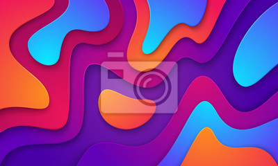 Naklejka Wavy colorful background with 3D style. Modern liquid background. Abstract textured background with mixing pink,purple, blue, and orange color. Eps10 vector illustration.