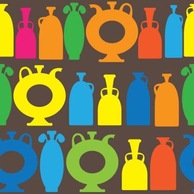 Naklejka wazony dekoracyjne wielokolorowe ikony bez szwu deseń