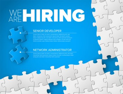 Naklejka We are hiring minimalistic blue flyer template with puzzle