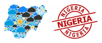 Naklejka Weather collage map of Nigeria, and scratched red round seal. Geographic vector mosaic map of Nigeria is combined from randomized rain, cloud, sun, thunderstorm icons.