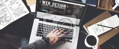 Naklejka Web Desegn Pomysły Kreatywność Multimedia Koncepcja Internet Online