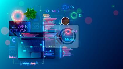 Naklejka Web development, coding and programming responsive layout internet site or app of devices. Creation digital Software mobile, desktop platforms. Computer code on laptop, tablet, phone. Concept banner.