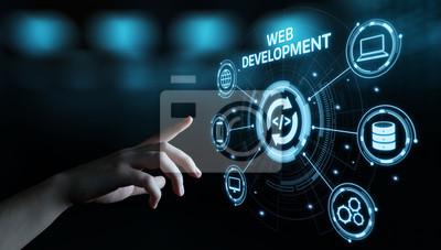 Naklejka Web Development Kodowanie Programowanie Technologia internetowa Koncepcja biznesowa