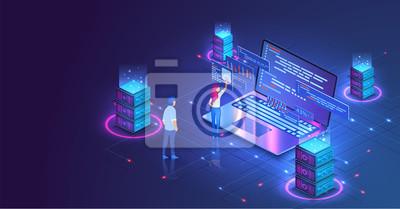 Naklejka Web hosting or programming concept. Web programming development, laptop with UI UX interface. Computer web data center server isometric landing vector page. Vector illustration