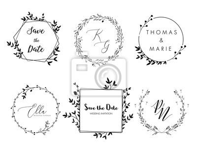 Naklejka Wedding invitation floral wreath minimal design. Vector template with flourishes ornament elements.