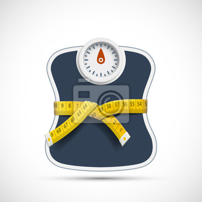 Naklejka Weighing scales with measuring tape. Weight loss concept