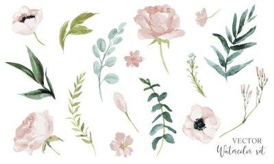 Naklejka Wektor akwarela ilustracja kwiatowy zestaw. Kolekcja elementów kwiatowych DIY - idealna na bukiety kwiatów, wieńce, aranżacje, zaproszenia ślubne, rocznicę, urodziny, życzenia, kartki, logo.