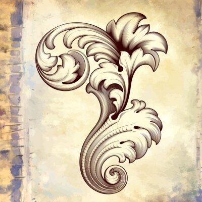 Naklejka Wektor archiwalne barokowy wzór kwiatowy scroll