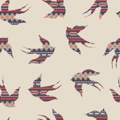 Naklejka Wektor bez szwu kolorowe dekoracyjny wzór z jaskółek etniczne