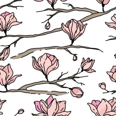 Naklejka Wektor bez szwu z kwiatów. Magnolia