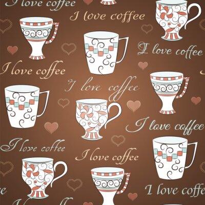 Naklejka Wektor bez szwu z Uwielbiam kawę