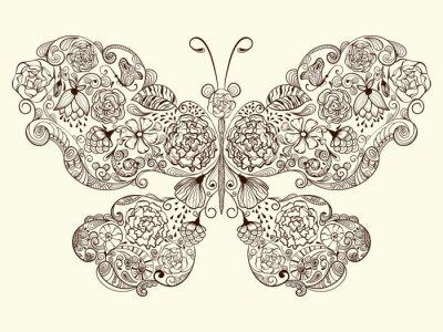 Naklejka Wektor Butterfly z kwiatów