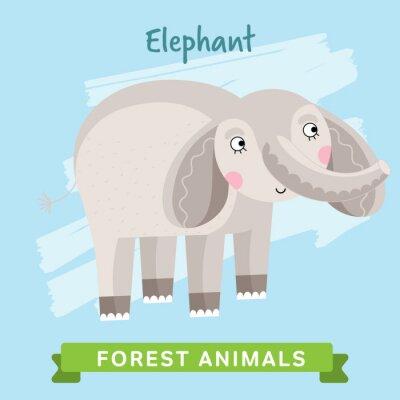 Naklejka wektor Elephant. Dzikie i leśne zwierzęta. Cartoon znaków ilustracji. Funny Zwierząt.