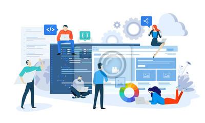 Naklejka Wektor ilustracja koncepcja projektowania i rozwoju strony internetowej i aplikacji. Kreatywny projekt płaski dla banerów internetowych, materiałów marketingowych, prezentacji biznesowych, reklam onli