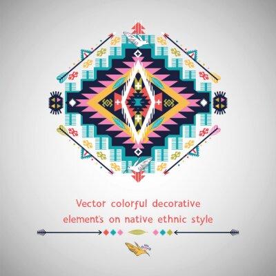 Naklejka Wektor kolorowe element dekoracyjny na rodzimym stylu etnicznym