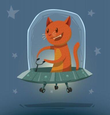Naklejka Wektor Kot w UFO. Obraz Cartoon pomarańczowy kot siedzi w szarym UFO na niebieskim tle gwiazdy.