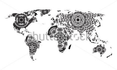 Naklejka Wektor mapa świata mandali