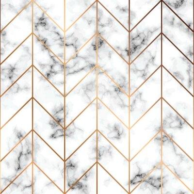 Naklejka Wektor marmur tekstura, bezszwowy deseniowy projekt z złotymi geometrycznymi liniami, czarny i biały marmoryzacja powierzchnia, nowożytny luksusowy tło