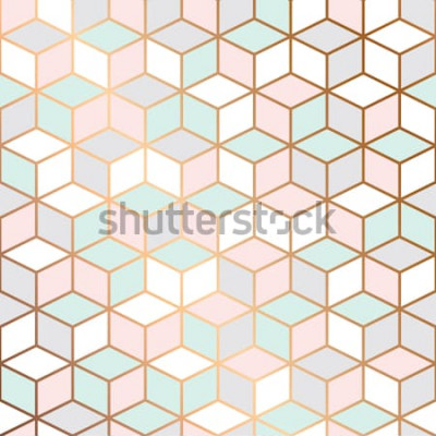 Naklejka Wektor marmurowa tekstura, deseniowy projekt z złotymi sześcianami, geometryczny, nowożytny luksusowy tło