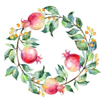 Naklejka Wektor okrągłe ramki z owoców granatu i akwareli.